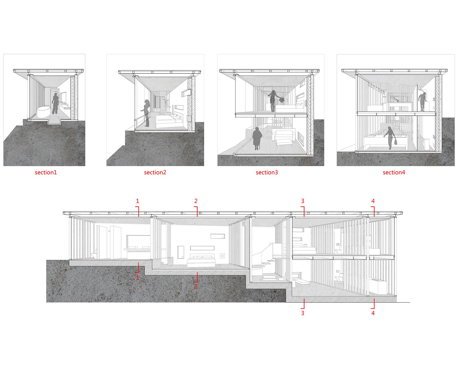 1-小钢屋剖透视 ©IDO元象建筑